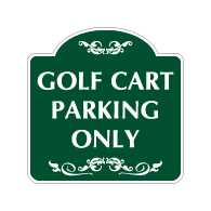 Mission Style Golf Cart Parking Only Sign -18x18 - Made with 3M Reflective Rust-Free Heavy Gauge Durable Aluminum available for quick shipping from STOPSignsAndMore.com
