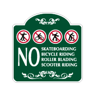 Mission Style No Skateboards Bicycles Rollerblades Scooters Sign - 18x18 - Made with 3M Reflective Rust-Free Heavy Gauge Durable Aluminum available for quick shipping from STOPSignsAndMore.com