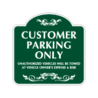 Mission Style Customer Parking Only Sign -18x18 - Made with 3M Reflective Rust-Free Heavy Gauge Durable Aluminum available for quick shipping from STOPSignsAndMore.com