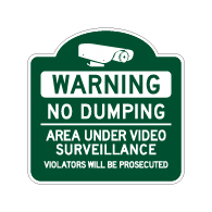 Mission Style No Dumping Area Under Video Surveillance Sign - 18x18 - Made with Reflective Rust-Free Heavy Gauge Durable Aluminum available at STOPSignsAndMore.com