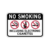 No Smoking Including Electronic Cigarettes Sign - 18x12 - Made with Non-Reflective Matte Rust-Free Heavy Gauge Durable Aluminum available at STOPSignsAndMore.com