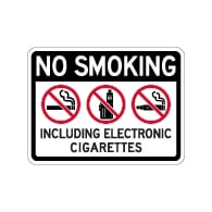 No Smoking Including Electronic Cigarettes Sign - 24x18 - Made with Non-Reflective Matte Rust-Free Heavy Gauge Durable Aluminum available at STOPSignsAndMore.com