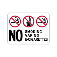 No Smoking Vaping E-Cigarettes Sign - 24x18 - Made with Non-Reflective Matte Rust-Free Heavy Gauge Durable Aluminum available at STOPSignsAndMore.com