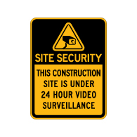 Construction Site Security 24 Hour Video Surveillance Sign - 18x24 - Made with Reflective Rust-Free Heavy Gauge Durable Aluminum available at STOPSignsAndMore.com