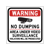 Warning No Dumping Area Under Video Surveillance Magnetic Sign - 12x12 - Made with Reflective Magnum Magnetics 30 Mil Material available from StopSignsandMore.com