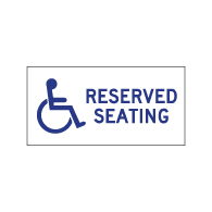 Table Label - Wheelchair Accessible Reserved Seating - 4x2 (Package of 3). Peel and Stick Labels for Restaurant Tables with Wheelchair Symbol (ISA) and Text.