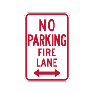 R7-1-MOD No Parking Fire Lane Sign - Double Arrow - 12x18 - Made with Engineer Grade Reflective Rust-Free Heavy Gauge Durable Aluminum available at STOPSignsAndMore.com
