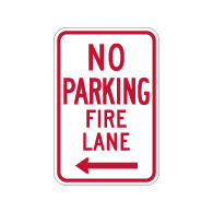 R7-1-MOD No Parking Fire Lane Sign - Left Arrow - 12x18 - Made with Engineer Grade Reflective Rust-Free Heavy Gauge Durable Aluminum available at STOPSignsAndMore.com
