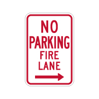 R7-1-MOD No Parking Fire Lane Sign - Right Arrow - 12x18 - Made with Engineer Grade Reflective Rust-Free Heavy Gauge Durable Aluminum available at STOPSignsAndMore.com