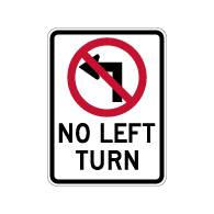 No Left Turn with Symbol Sign - 18x24 - Reflective Rust-Free Heavy Gauge Aluminum Road Signs.