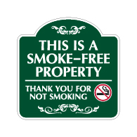 Mission Style This Is A Smoke-Free Property Sign - 18x18 - Made with 3M Reflective Rust-Free Heavy Gauge Durable Aluminum available for quick shipping from STOPSignsAndMore.com