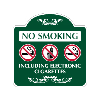 Mission Style No Smoking Including Electronic Cigarettes Sign - 18x18 - Made with 3M Reflective Rust-Free Heavy Gauge Durable Aluminum available for quick shipping from STOPSignsAndMore.com