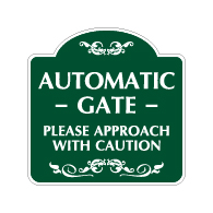 Mission Style Automatic Gate Approach With Caution Sign - 18x18 - Made with 3M Reflective Rust-Free Heavy Gauge Durable Aluminum available for quick shipping from STOPSignsAndMore.com