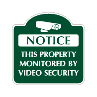 Mission Style Property Monitored By Video Security Sign - 18x18 - Made with 3M Reflective Rust-Free Heavy Gauge Durable Aluminum available for quick shipping from STOPSignsAndMore.com