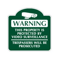 Mission Style Property Protected By Video Surveillance Sign - 18x18 - Made with Reflective Rust-Free Heavy Gauge Durable Aluminum available at STOPSignsAndMore.com