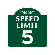 Mission Style 5-MPH SPEED LIMIT Sign - 18x18 - Made with 3M Engineer Grade Reflective Rust-Free Heavy Gauge Durable Aluminum available at STOPSignsAndMore.com