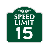 Mission Style 15-MPH SPEED LIMIT Sign - 18x18 - Made with 3M Engineer Grade Reflective Rust-Free Heavy Gauge Durable Aluminum available at STOPSignsAndMore.com