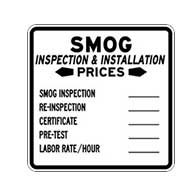SMOG Inspection Price Sign - 24x24