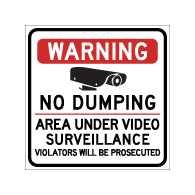 Warning No Dumping Area Under Video Surveillance Magnetic Sign - 24x24 - Made with Reflective Magnum Magnetics 30 Mil Material available from StopSignsandMore.com