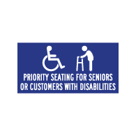 Table Label - Priority Seating For Seniors And Disabled - 4x2 (Package of 3). Peel and Stick Labels for Restaurant Tables with Wheelchair Symbol (ISA) and Text.