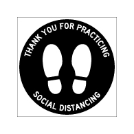 Floor Label - Thank You For Practicing Social Distancing - 12x12 (3 Pack). Digitally printed on rugged low-tac vinyl using latex inks with a peel-off self-adhesive backing.