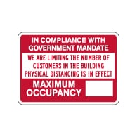Max Occupancy Physical Distancing In Effect Sign - 14x10 - Made with Non-Reflective Rust-Free Heavy Gauge Durable Aluminum available for fast shipping from STOPSignsAndMore.com