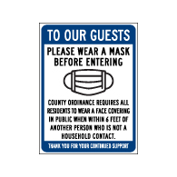 Window Decal - To Our Guests Please Wear A Mask - 6x8 (Pack of 3) - Digitally printed on rugged vinyl using outdoor-rated inks. Buy Public Health Safety Window Decals from StopSignsandMore.com