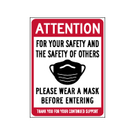 Window Decal - Please Wear A Mask Before Entering - 6x8 (Pack of 3) - Digitally printed on rugged vinyl using outdoor-rated inks. Buy Public Health Safety Window Decals from StopSignsandMore.com