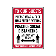 Window Label - Practice Social Distancing - 6x8 (Pack of 3) - Digitally printed on rugged vinyl using outdoor-rated inks. Buy Public Health Safety Window Decals from StopSignsandMore.com