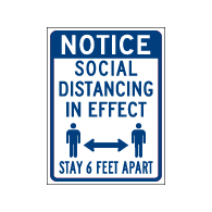 Window Label - Notice Social Distancing In Effect - 6x8 (Pack of 3) - Digitally printed on rugged vinyl using outdoor-rated inks. Buy Public Health Safety Window Decals from StopSignsandMore.com