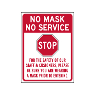 Window Label - No Mask No Service - 6x8 (Pack of 3) - Digitally printed on rugged vinyl using outdoor-rated inks. Buy Public Health Safety Window Decals from StopSignsandMore.com