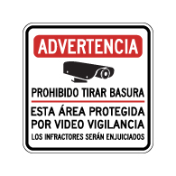 Spanish Warning No Dumping This Area Protected By Video Surveillance Sign - 18x18. Made with 3M Reflective Rust-Free Heavy Gauge Durable Aluminum available at STOPSignsAndMore