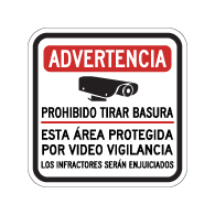 Spanish Warning No Dumping This Area Protected By Video Surveillance Sign - 12x12. Made with 3M Reflective Rust-Free Heavy Gauge Durable Aluminum available at STOPSignsAndMore