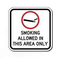 Smoking Allowed In This Area Only with Smoking Symbol Sign - 12x12 - Outdoor rated reflective aluminum Smoking Area Signs