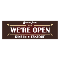 Welcome We're Open Dine-In And Takeout Banner - 72x24 - Use Our Open For Business Premium Heavyweight 13 oz. Outdoor-Rated Vinyl Banners to Advertise Your Business.