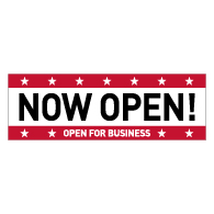 Now Open For Business Vinyl Banner - 72x24 - Use Our Open For Business Premium Heavyweight 13 oz. Outdoor-Rated Vinyl Banners to Advertise Your Business.