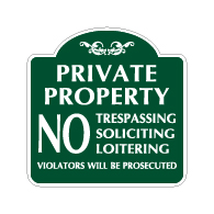 Mission Style Private Property No Trespassing Soliciting Sign - 18x18 - Made with 3M Reflective Rust-Free Heavy Gauge Durable Aluminum available for quick shipping from STOPSignsAndMore.com