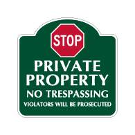 Mission Style STOP Private Property No Trespassing Sign - 18x18. Made with 3M Reflective Rust-Free Heavy Gauge Durable Aluminum available for quick shipping from STOPSignsAndMore