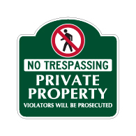 Mission Style No Trespassing Private Property Sign - 18x18 - Made with 3M Reflective Rust-Free Heavy Gauge Durable Aluminum available for quick shipping from STOPSignsAndMore.com