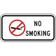 No Smoking with No Smoking Symbol Sign - 12x6 - Non-reflective