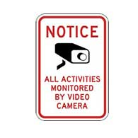 Notice All Activities Monitored By Video Camera Signs 12x18 - Reflective Rust-Free Heavy Gauge Aluminum Security Signs.