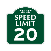 Mission Style 20-MPH SPEED LIMIT Sign - 18x18 - Made with 3M Engineer Grade Reflective Rust-Free Heavy Gauge Durable Aluminum available at STOPSignsAndMore.com