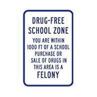 Drug-Free School Zone Sign - 12x18 - Reflective rust-free heavy-gauge aluminum School Parking and School Property Signs