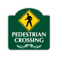 Mission Style Pedestrian Crossing Sign - 18x18. Made with 3M Reflective Rust-Free Heavy Gauge Durable Aluminum available for quick shipping from STOPSignsAndMore