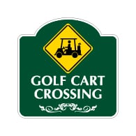 Mission Style Golf Cart Crossing Sign - 18x18. Made with 3M Reflective Rust-Free Heavy Gauge Durable Aluminum available for quick shipping from STOPSignsAndMore