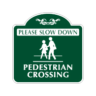 Mission Style Slow Down Pedestrian Crossing Sign - 18x18. Made with 3M Reflective Rust-Free Heavy Gauge Durable Aluminum available for quick shipping from STOPSignsAndMore