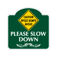 Mission Style Caution Speed Bumps Ahead Sign - 18x18. Made with 3M Reflective Rust-Free Heavy Gauge Durable Aluminum available for quick shipping from STOPSignsAndMore