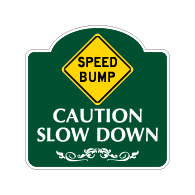 Mission Style Speed Bump Slow Down Sign - 18x18. Made with 3M Reflective Rust-Free Heavy Gauge Durable Aluminum available for quick shipping from STOPSignsAndMore