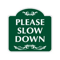 Mission Style Please Slow Down Warning Sign - 18x18. Made with 3M Reflective Rust-Free Heavy Gauge Durable Aluminum available for quick shipping from STOPSignsAndMore