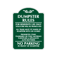 Mission Style Dumpster Rules Residents Only Sign - 18x24 - Decorative Signs Made with Reflective Rust-Free Heavy Gauge Durable Aluminum available at STOPSignsAndMore.com